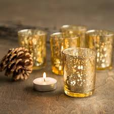 details about 12 gold mercury glass votive candle holder 2 5 tall multiple for