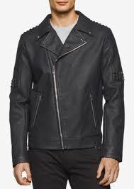 calvin klein men s faux leather asymmetric moto jacket