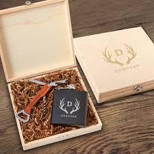 personalized irvine wood groomsmen gift box set flask bottle opener