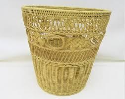 small wicker wastebasket with lid. Interesting Wastebasket Vintage Wicker Trash Can  Waste Basket Yellow Woven  Rattan Wastebasket To Small With Lid R