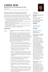 Marketing And Communications Consultant Resume samples