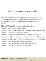 Objective Resume Samples New Top 48 Ict Consultant Resume Samples