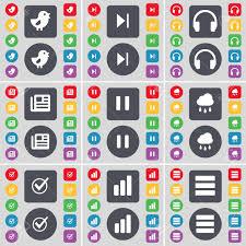 Apps Symbol Vogel Medien überspringen Kopfhörer Zeitung Pause Wolke Tick