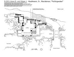 Fallingwater House  Third Floor Block In Architecture Autocad Falling Water Floor Plans