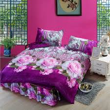 4pcs purple polyester fiber 3d pink rose reactive dyeing bedding sets queen king size duvet cover