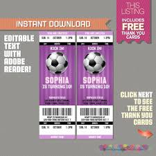 Soccer Party Invite Girl Soccer Party Ticket Invitation With Free Thank You Card