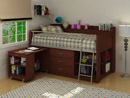 high quality wood low loft bunk bed for kids with wheeled desk and space saving storage