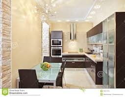 Modern Kitchen Interior Modern Kitchen Interior In Warm Tones Royalty Free Stock Photo