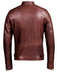 brown corbani racer leather jacket with quilt back