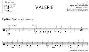 Valerie Mark Ronson Feat Amy Winehouse Drum Sheet Music