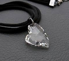 lucid heart necklace sparkling clear swarovski crystal heart pendant on black satin cords felt