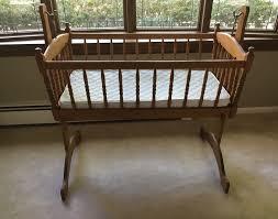 vintage wooden rocking cradle baby bed swinging wood spindle bassinet baby nursery furniture