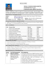 r e s u m e wing commander retd syed rizwan ali administration hr security security objectives for resume