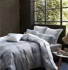 com ufo home printed duvet cover set 250 thread count 100 cotton sateen inside ties comfortable soft durable 3pc bedding set grey plaid