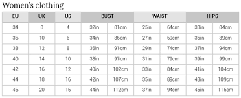 10 Punctual Clothes Sizing Chart
