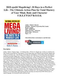 Action Plan In Pdf Simple 48 Epub Megaliving 48 Days To A Perfect Life The Ultimate
