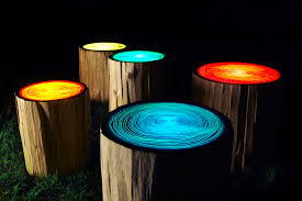 lighting idea. Diy Patio Lighting Idea With Colorful Glow In The Dark Paint On Pieces Of Tree