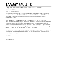 Cover Letter Design Front Sample Cover Letter For Web Developer Best