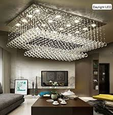 rectangular dining room lights. Siljoy Modern Contemporary Crystal Rectangular Chandelier For Living Room Flush Mount Ceiling Lighting Fixture, H14 Dining Lights