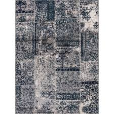 jasmin collection damask patchwork design gray and teal 8 ft x 10 ft area