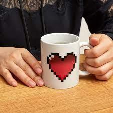 Pink watercolor heart first mother's day coffee mug. Morph Coffee Mug Heart Kikkerland Design Inc