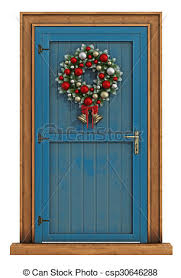 christmas front door clipart. Fine Front Christmas Front Door With Wreath Isolated On White To Front Door Clipart