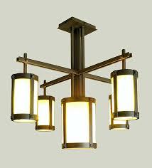 craftsman style chandelier entry
