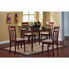clic 5 piece dining set with rectangular table and 4 chairs in chestnut wood