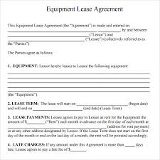 Equipment Rental Lease Agreement Templates