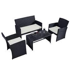 black garden furniture. costway 4 pc rattan patio furniture set garden lawn sofa wicker cushioned seat black walmartcom
