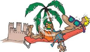 lounge chair clipart. beach bum drinking beer from a lounge chair by sandcastle - royalty free clipart image e