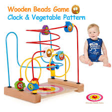 Wooden Bead Game New Baby Classic Toys Wooden Bead Maze Clock Child Beads 83