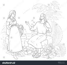 Small Picture Jesus Samaritan Woman Well Coloring Page Stock Vector 675235927