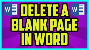 How To Delete A Blank Page In Microsoft Word Microsoft Word 2010 2007 Delete Blank Page Tutorial