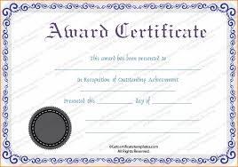 Free Award Certificate Templates For Students Award Certificate Template Free Sample Get Sniffer