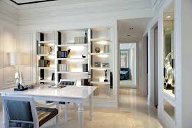 white home office. Luxury White Home Office Design With Large Wide Desk Two Chairs And Floor . E