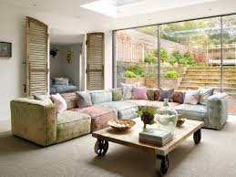 london coffee table arrangements living room contemporary with blue cushions removable cover string lights