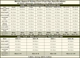 The Mountain Shirt Size Chart Size Charts For The Mountain Brand T Shirtsauce Australia