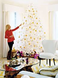White Christmas Trees white and gold