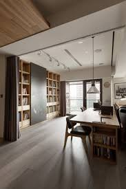 Open space home office Modern With The Curtains Fully Open We See The Open Space Flowing Into The Office Area Home Stratosphere Partidesign Creates Spacious Openconcept Apartment
