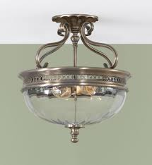 two light brushed bronze clear optic glass bowl semi flush mount