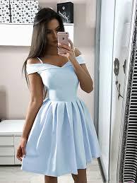 Short Light Blue Grad Dresses A Line Off Shoulder Short Light Blue Navy Blue Prom Dresses