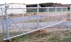 chain link fence double gate. 6x20-cantilever- Chain Link Fence Gate Double