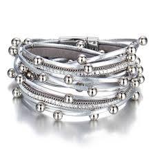 surewaydm wrap leather bracelet for women silver