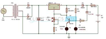 automatic 12v portable battery charger circuit using lm317 automatic 12v battery charger circuit diagram circuit diagram of automatic battery charger