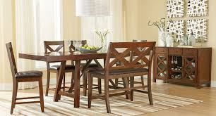 Omaha Counter Height Dining Set W Bench Brown Casual Dining Counter Height Dining Table Bench