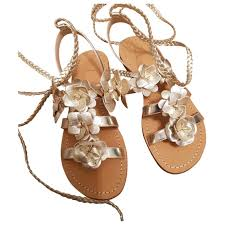 Leather Sandals Tory Burch Gold Size 9 Us In Leather 6285552