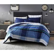 Plaid Bedroom Twin Bedding Set 8 Piece Twin Xl Blue Plaid Bedroom Set Comforter