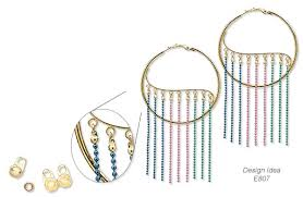 earrings with colored brass ball chain and gold plated steel hoop earring findings