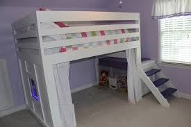 white full size loft bed plans
